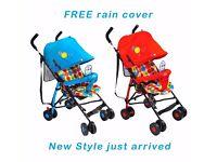 Baby Infant Toddler Single Stroller Pushchair Pram Lightweight Buggy +Rain Cover