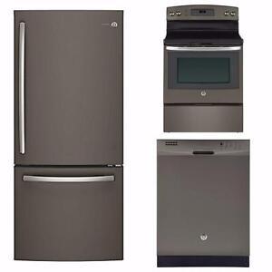 LIQUIDATION! Trio Cuisine Ardoise : Frigo 30'', Cuisinière 30'' et Lave-vaisselle 24'', GE Profile