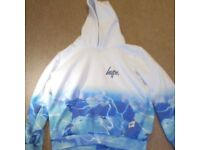 Used Hype Hoodie (blue & white) aged 13yrs