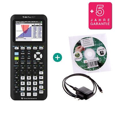 TI 84 Plus CE-T Taschenrechner Grafikrechner + Ladekabel Lern-CD Garantie ()