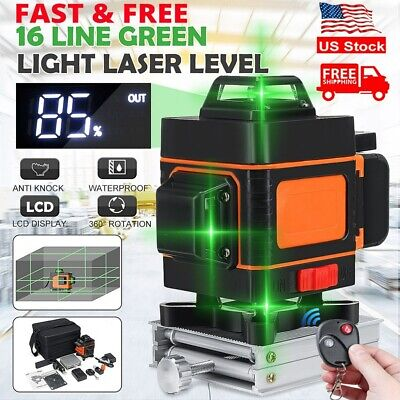 16 Line 4d Laser Level Green Light Self Leveling 360 Rotary Measuring Tool Usa