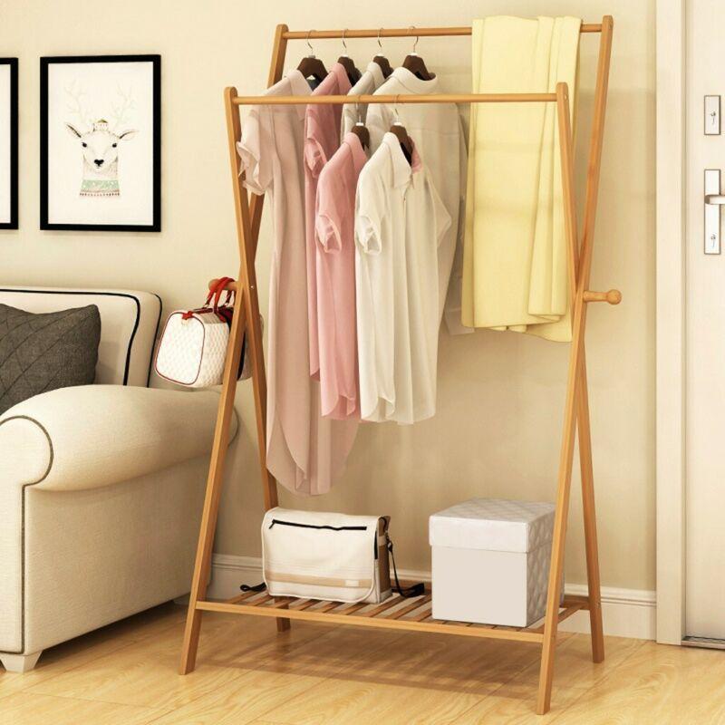 Closet System Wood Storage Organizer Garment Rack Clothes Ha
