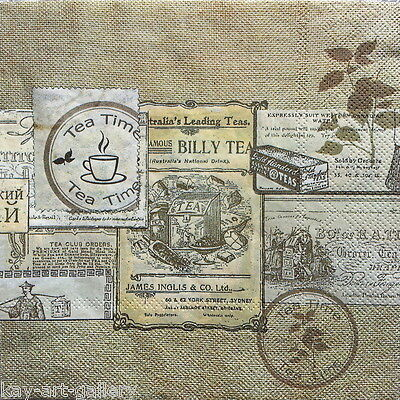 4 x Single Vintage Table Paper Napkins / LABEL / Decoupage / Craft /Scrapbooking