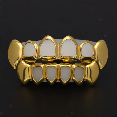 18K Gold Plated Open Mouth Grills Top & Bottom Teeth Caps Prom Halloween - Halloween Exposed Teeth