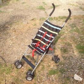 John Lewis Striped Travel Stroller Multi coloured