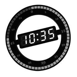 Creative Mute Hanging Wall Clock Black Circle Automatically Adjust Brightness