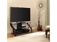 """Bell'O Cooper Curved Wood, Metal and Glass TV Stand for TVs up to 55"""""""