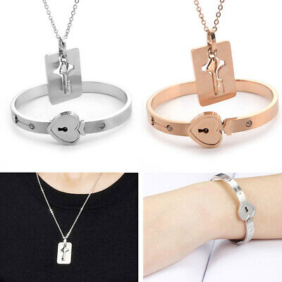 Titanium Steel  Love Heart Lock Bangle Bracelet and Key Pendant Necklace (Heart Titanium Necklace)