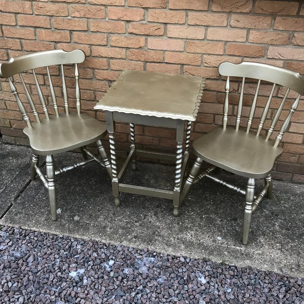 Gold Twist Leg Table and Two Chairs