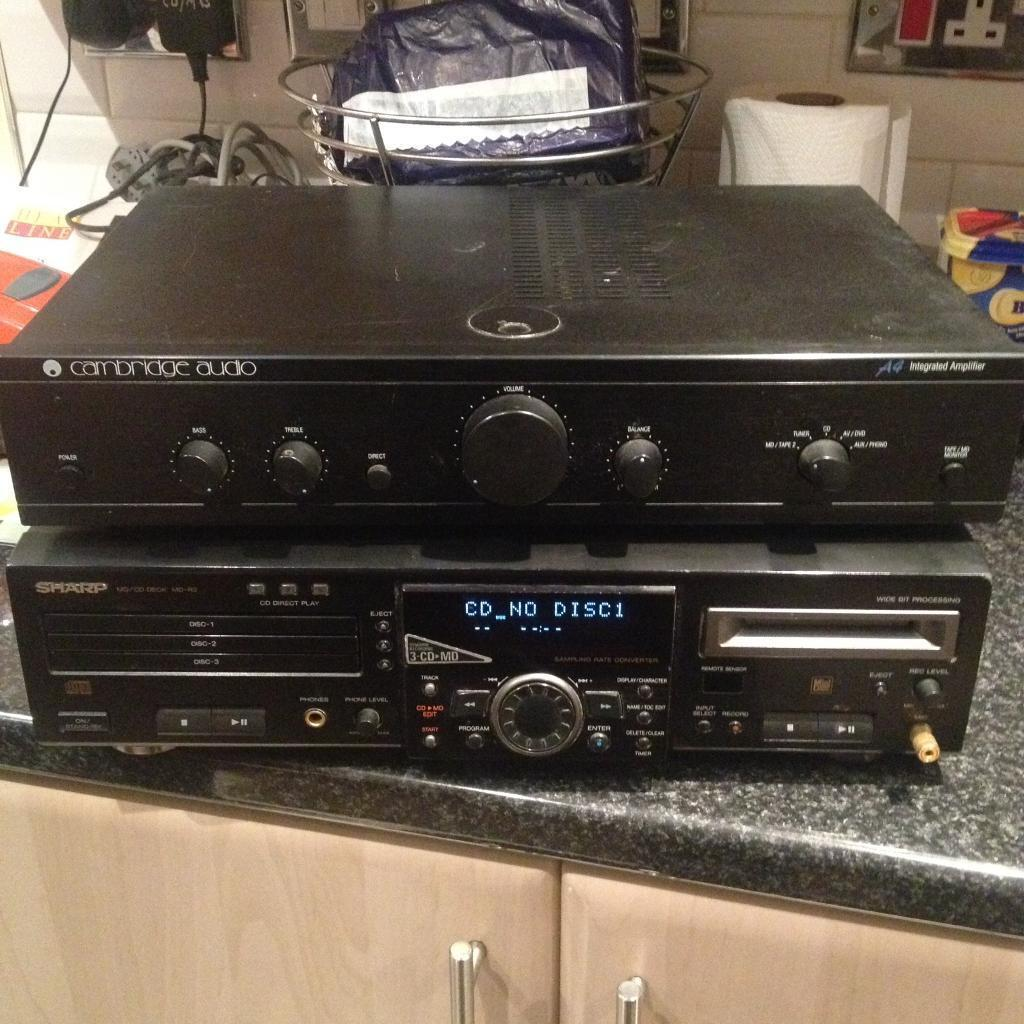Cambridge audio amp/sharp cd/md playerin Sherwood, NottinghamshireGumtree - Cambridge audio amp in good working order £45Sharp cd/md player only £35Powers on but not tested Text 07792468253