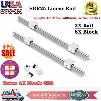 2x Sbr25 Linear Rail Guide 400-1500mm Slide Shaft Rod8xsbr12uu Bearing Block Us