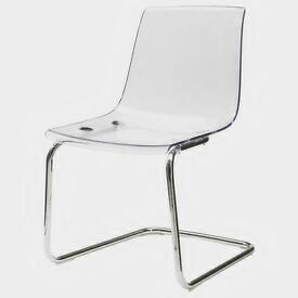 3 x brand new Tobias chairs (Ikea) transparent/chrome-plated, £100 for all three
