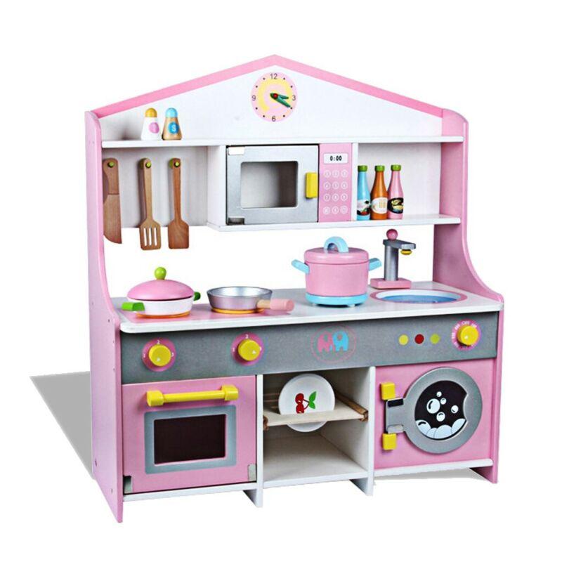 Child Kids Wood Kitchen Toy Cooking Pretend Play Set Toddler