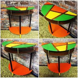 Trendy, retro, hand painted half-moon table, side table, lamp table
