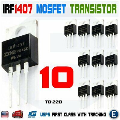10pcs Irf1407 Irf 1407 Power Mosfet Transistor To-220ab Ir N Channel 75v 130a
