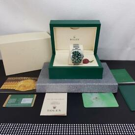 Complete Set Silver Green Rolex Submariner comes Rolex Boxed with Paperwork