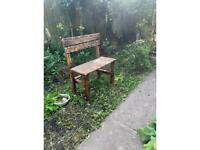 """28"""" Wide garden seat, from flame treated reclaimed timber, delivery available ideal for small spaces"""
