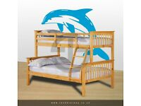 🔴LOWEST PRICE IN UK🔵Kids Bed Trio Wooden Bunk Bed In OAK Color Optional mattress
