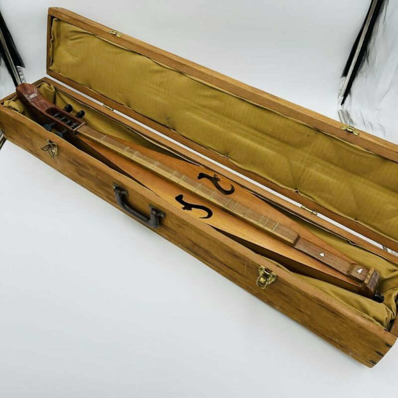 Vintage Handmade Appalachian Dulcimer Made In Texas, With Wooden Case