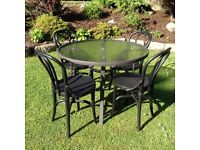 Garden Furniture - round glass table and 4 chairs