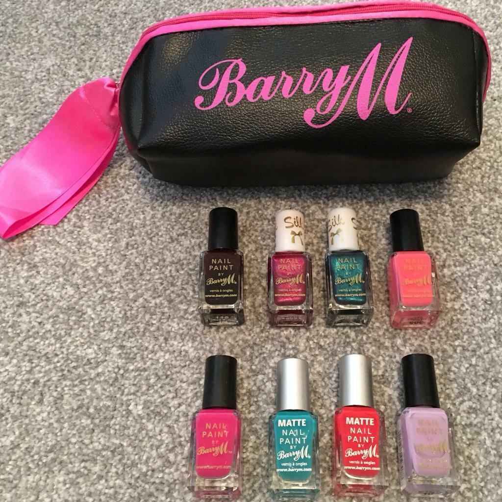 Barry M silk matte set of 8 nail varnish polish cosmetic bag pouch ...