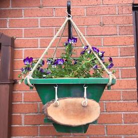 Large Green Hanging Basket handmade with Rubber Lining and wooden Sign ready to be stencilled