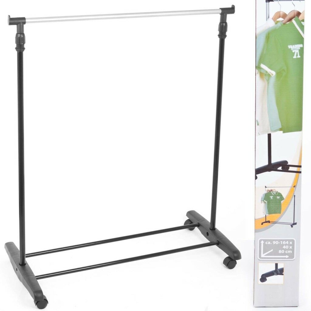 Portable Clothes Display Rail Stand Wheels Hanging Garment