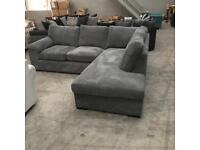 Brand new grey jumbo chord corner sofa