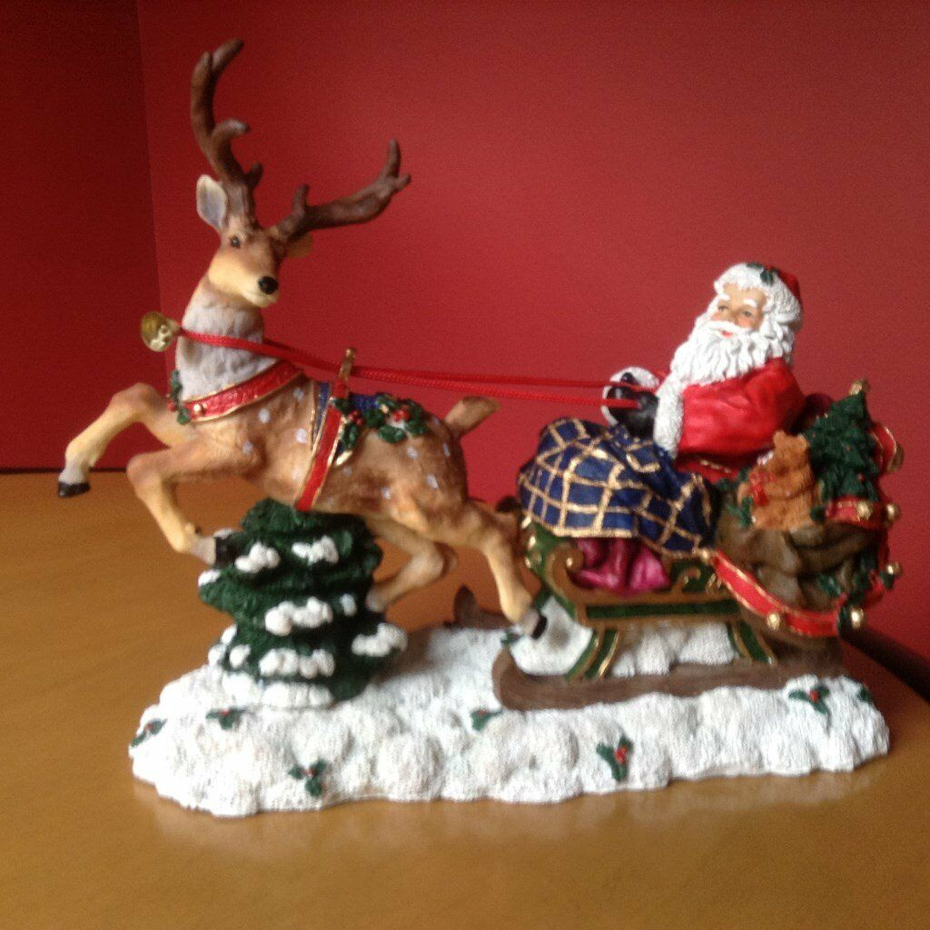 Santa sleigh ornament - Christmas Santa Sleigh Ornament