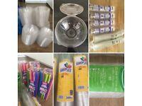 Smoothie cups, salad bowls, straws, 9oz pots, 10oz, 16oz cups, dome lids, plastic cups, catering van