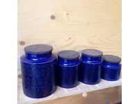 Set of 4 Vintage Hornsea Cobalt Blue Ceramic Jars