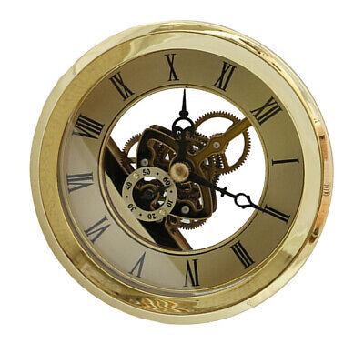 Skeleton Insert Clock Movement Quartz Battery Fit Up 91mm Golden Roman Dial ()
