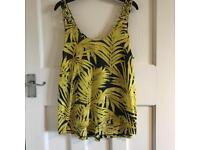 H&M Yellow Palm Leaf Print Vest Top