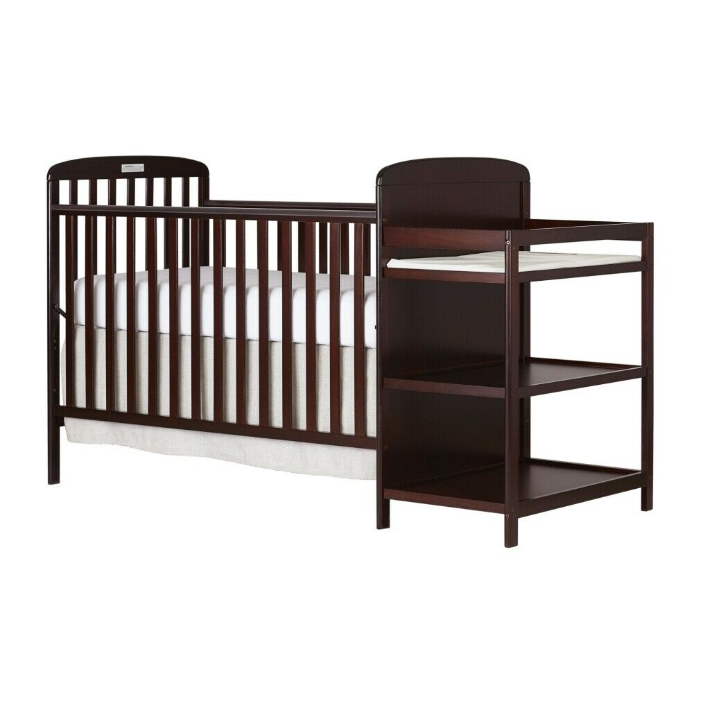NEW 4-In-1 Baby Crib With Changing Table Combo Furniture Ful