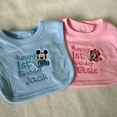 Minnie Mouse 1st Birthday Bib (PERSONALISED BABY BIB MICKEY MINNIE MOUSE TODDLER 1ST BIRTHDAY CAKE +)
