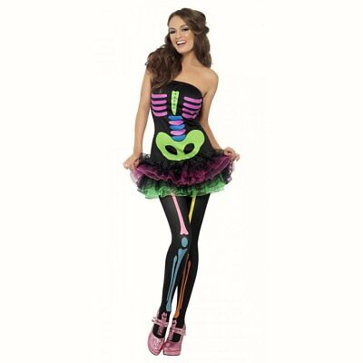 Neon Skeleton Tutu Womens Halloween fancy dress costume Outfit
