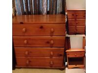 Solid pine furniture chest of drawers small drawers bed side table for sale