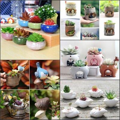 Mini Ceramic Resin Succulent Plant Container Desktop Garden Flower Pot Planter - Mini Pots