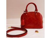 Authentic Louis Vuitton Alma BB Hand Bag Red M91698 Monogram Vernis Patent Leather