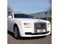 CVS Rolls Royce Ghost Wedding Prestige Chauffeur Car Hire Prom Party Airport Transfer Cover all UK