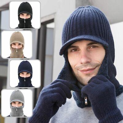 Warm Mens Hat Knit Visor Beanie Fleece Lined Billed Beanie with Brim Cap -