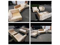 Crushed velvet sofa suite del available