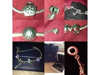 GENIUNE PANDORA BRACLET WITH 9 CHARMS PLUS SAFETY CHAIN ALL FULLY HALLMARKED