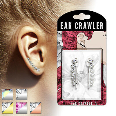 20 Cubic Zirconia Crystals - PAIR of Accending Crystals Ear Crawler / Climber 20g Earrings- choose your color