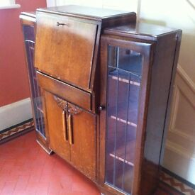 Vintage Bureau Desk Writing Table Display Drinks Cabinet Storage Cupboard / Can Deliver