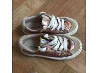 Girls Zara Metallic Rose Gold Shoes Trainers size 11 (EU29)