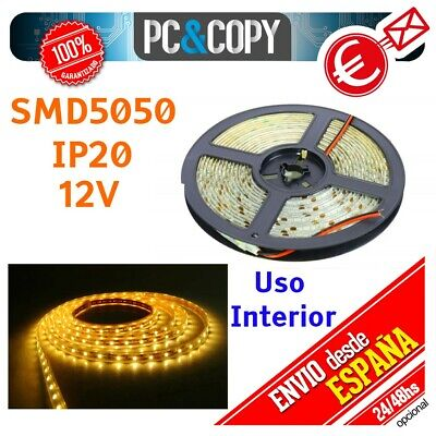 S1124 5M Tiras LED Blanco Calido 12v IP20 Flexible Interior SMD5050
