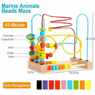 Wooden Marine Animals Beads Maze Roller Coaster Educational Toy Toddlers Gift