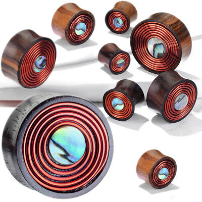 Pair Abalone & Copper Wire Coil Inlay Organic Sono Wood Saddle Ear Plugs -