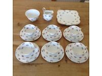 Tuscan Bone China 22 Piece Floral Tea Set, Excellent Condition
